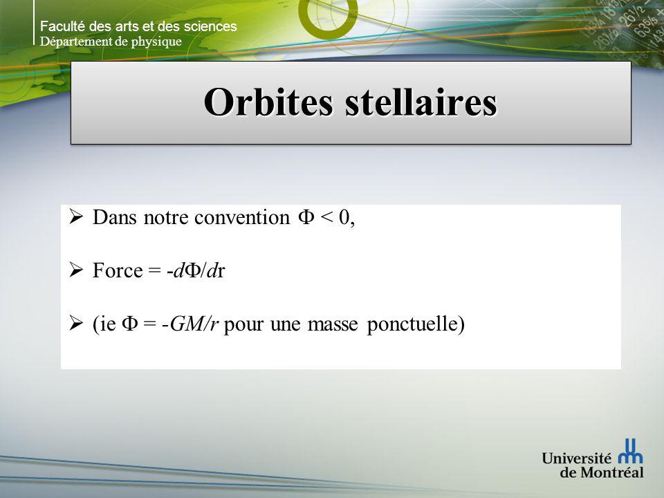 Faculté des arts et des sciences Département de physique Orbites stellaires Dans notre convention < 0, Force = -d /dr (ie = -GM/r pour une masse ponct