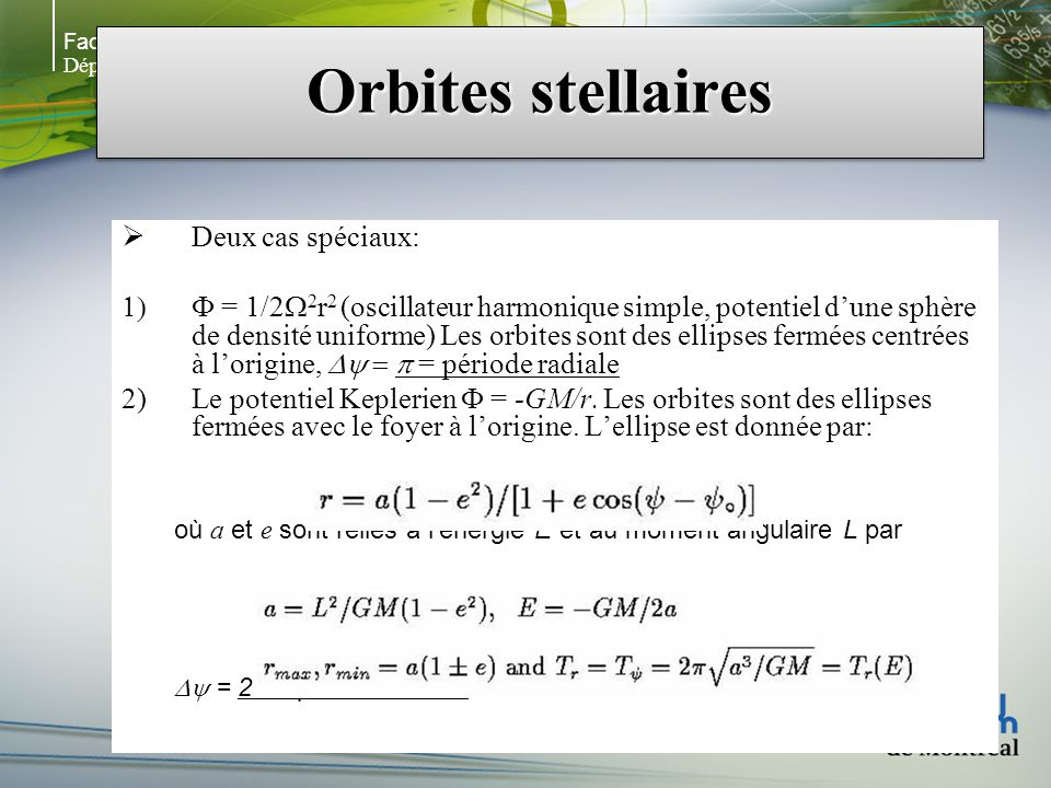 Faculté des arts et des sciences Département de physique Orbites stellaires Deux cas spéciaux: = 1/2 2 r 2 (oscillateur harmonique simple, potentiel dune sphère de densité uniforme) Les orbites sont des ellipses fermées centrées à lorigine, = période radiale Le potentiel Keplerien = -GM/r.