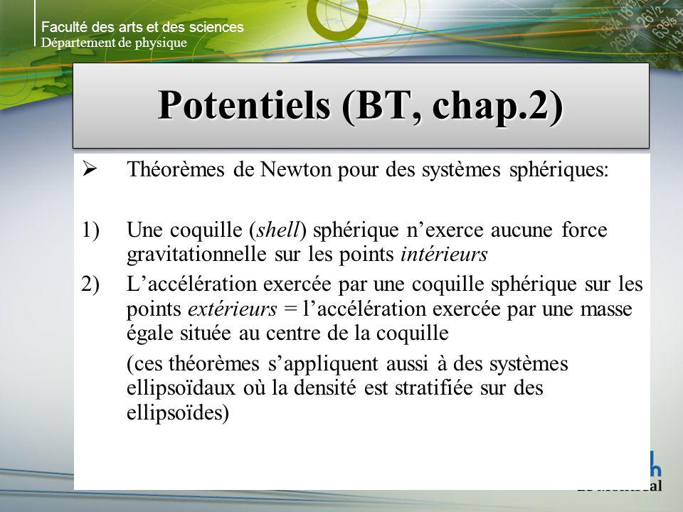 Faculté des arts et des sciences Département de physique Potentiels (BT, chap.2) Théorèmes de Newton pour des systèmes sphériques: 1)Une coquille (shell) sphérique nexerce aucune force gravitationnelle sur les points intérieurs 2)Laccélération exercée par une coquille sphérique sur les points extérieurs = laccélération exercée par une masse égale située au centre de la coquille (ces théorèmes sappliquent aussi à des systèmes ellipsoïdaux où la densité est stratifiée sur des ellipsoïdes)