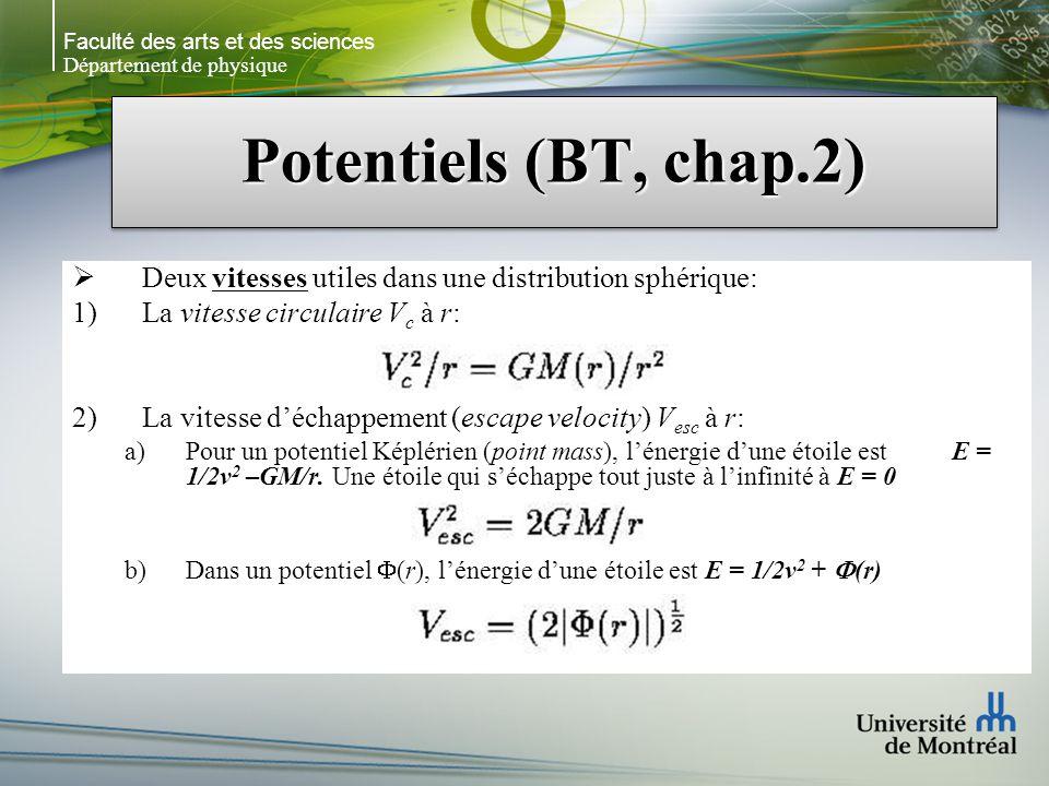 Faculté des arts et des sciences Département de physique Potentiels (BT, chap.2) Deux vitesses utiles dans une distribution sphérique: La vitesse circulaire V c à r: La vitesse déchappement (escape velocity) V esc à r: Pour un potentiel Képlérien (point mass), lénergie dune étoile est E = 1/2v 2 –GM/r.