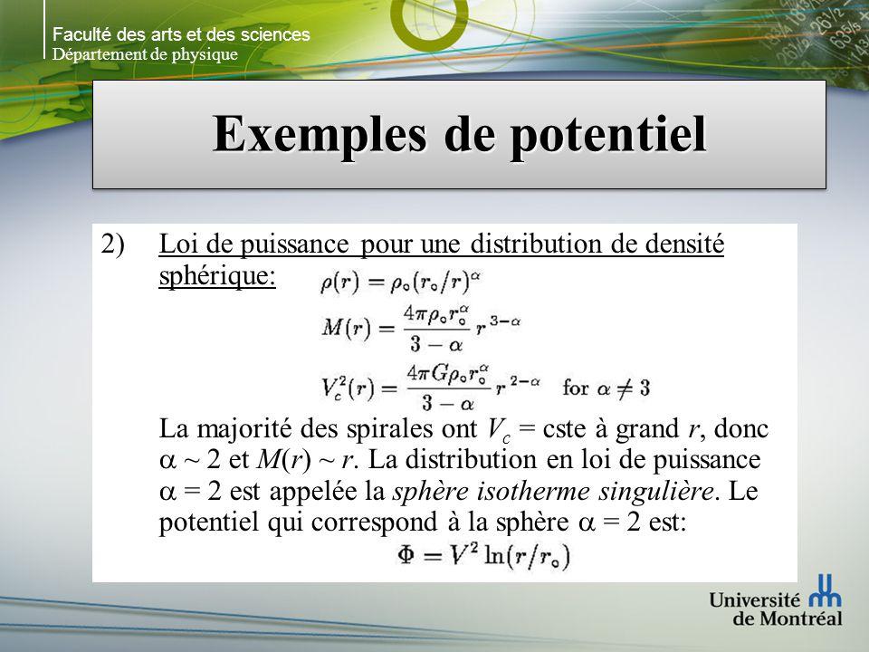 Faculté des arts et des sciences Département de physique Exemples de potentiel 2)Loi de puissance pour une distribution de densité sphérique: La majorité des spirales ont V c = cste à grand r, donc ~ 2 et M(r) ~ r.