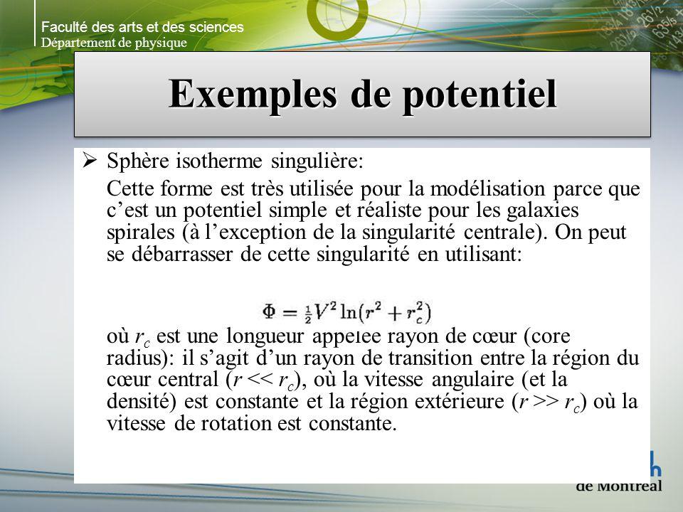 Faculté des arts et des sciences Département de physique Exemples de potentiel Sphère isotherme singulière: Cette forme est très utilisée pour la modélisation parce que cest un potentiel simple et réaliste pour les galaxies spirales (à lexception de la singularité centrale).