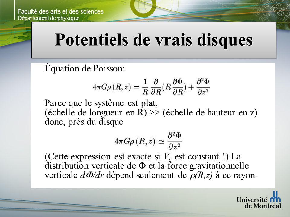 Faculté des arts et des sciences Département de physique Potentiels de vrais disques Équation de Poisson: Parce que le système est plat, (échelle de l