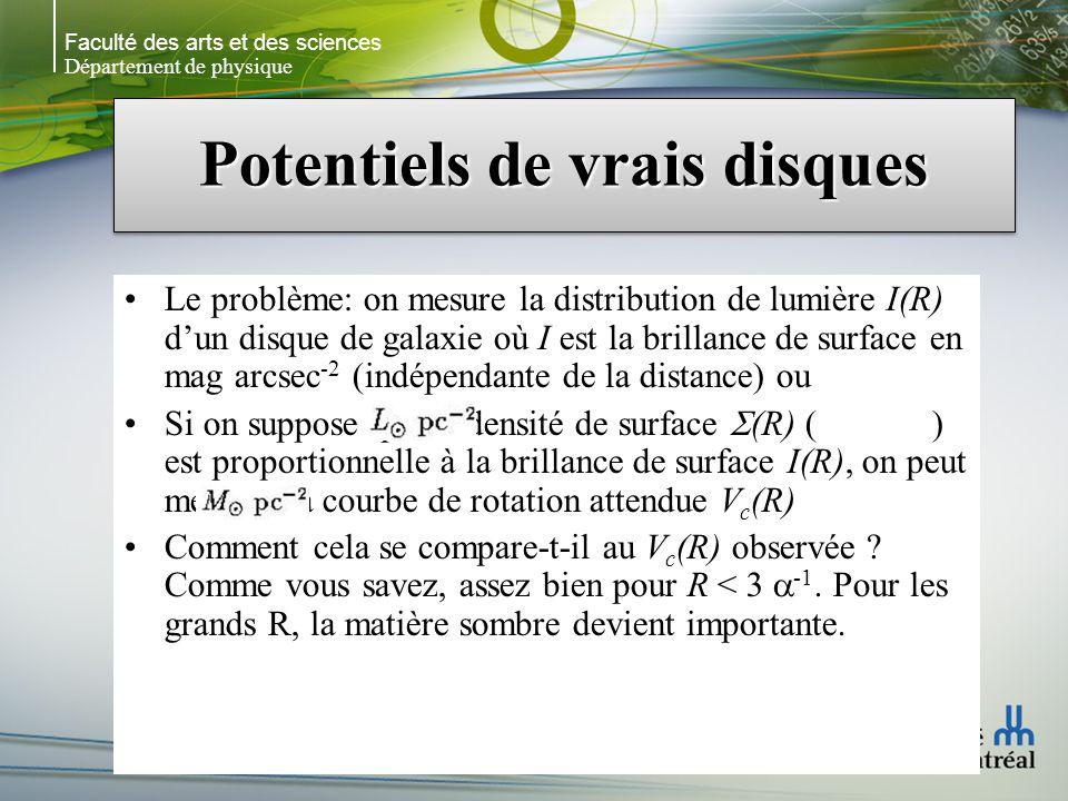 Faculté des arts et des sciences Département de physique Potentiels de vrais disques Le problème: on mesure la distribution de lumière I(R) dun disque de galaxie où I est la brillance de surface en mag arcsec -2 (indépendante de la distance) ou Si on suppose que la densité de surface (R) ( ) est proportionnelle à la brillance de surface I(R), on peut mesurer la courbe de rotation attendue V c (R) Comment cela se compare-t-il au V c (R) observée .