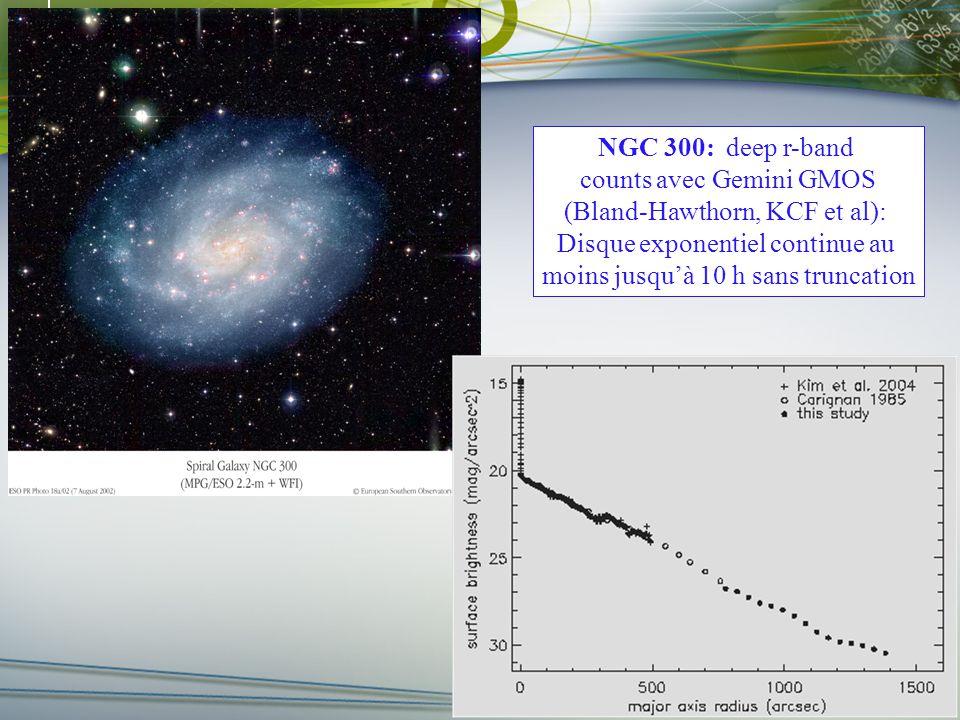 Faculté des arts et des sciences Département de physique r-band star counts NGC 300: deep r-band counts avec Gemini GMOS (Bland-Hawthorn, KCF et al): Disque exponentiel continue au moins jusquà 10 h sans truncation