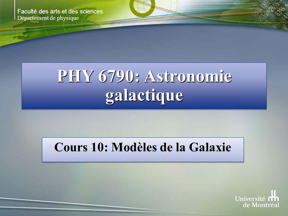 Faculté des arts et des sciences Département de physique PHY 6790: Astronomie galactique Cours 10: Modèles de la Galaxie