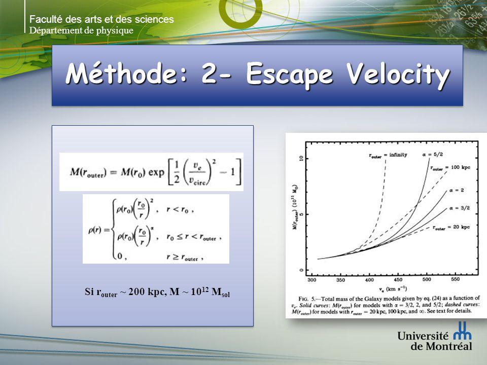 Faculté des arts et des sciences Département de physique Méthode: 2- Escape Velocity Si r outer ~ 200 kpc, M ~ 10 12 M sol