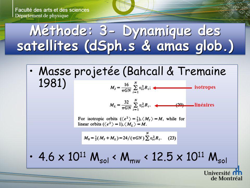 Faculté des arts et des sciences Département de physique Méthode: 3- Dynamique des satellites (dSph.s & amas glob.) Masse projetée (Bahcall & Tremaine 1981) 4.6 x 10 11 M sol < M mw < 12.5 x 10 11 M sol Masse projetée (Bahcall & Tremaine 1981) 4.6 x 10 11 M sol < M mw < 12.5 x 10 11 M sol isotropes linéaires