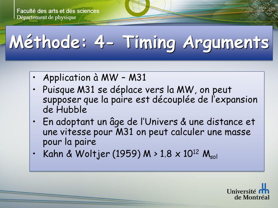 Faculté des arts et des sciences Département de physique Méthode: 4- Timing Arguments Application à MW – M31 Puisque M31 se déplace vers la MW, on peut supposer que la paire est découplée de lexpansion de Hubble En adoptant un âge de lUnivers & une distance et une vitesse pour M31 on peut calculer une masse pour la paire Kahn & Woltjer (1959) M > 1.8 x 10 12 M sol Application à MW – M31 Puisque M31 se déplace vers la MW, on peut supposer que la paire est découplée de lexpansion de Hubble En adoptant un âge de lUnivers & une distance et une vitesse pour M31 on peut calculer une masse pour la paire Kahn & Woltjer (1959) M > 1.8 x 10 12 M sol