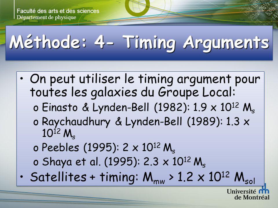Faculté des arts et des sciences Département de physique Méthode: 4- Timing Arguments On peut utiliser le timing argument pour toutes les galaxies du Groupe Local: oEinasto & Lynden-Bell (1982): 1.9 x 10 12 M s oRaychaudhury & Lynden-Bell (1989): 1.3 x 10 12 M s oPeebles (1995): 2 x 10 12 M s oShaya et al.