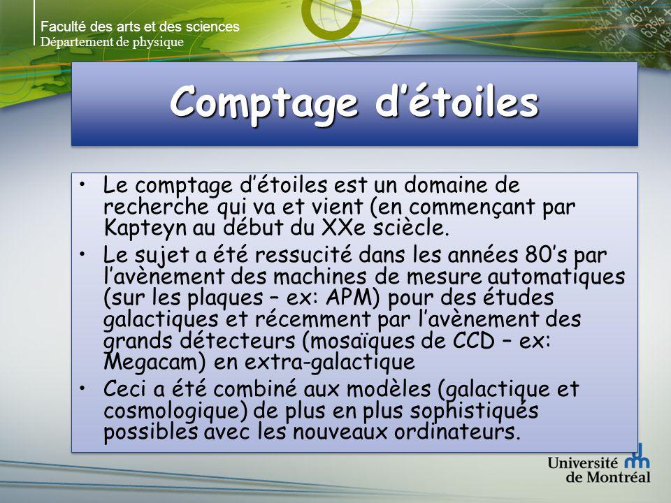 Faculté des arts et des sciences Département de physique Comptage détoiles Le comptage détoiles est un domaine de recherche qui va et vient (en commençant par Kapteyn au début du XXe sciècle.
