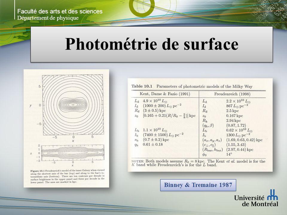 Faculté des arts et des sciences Département de physique Photométrie de surface Binney & Tremaine 1987