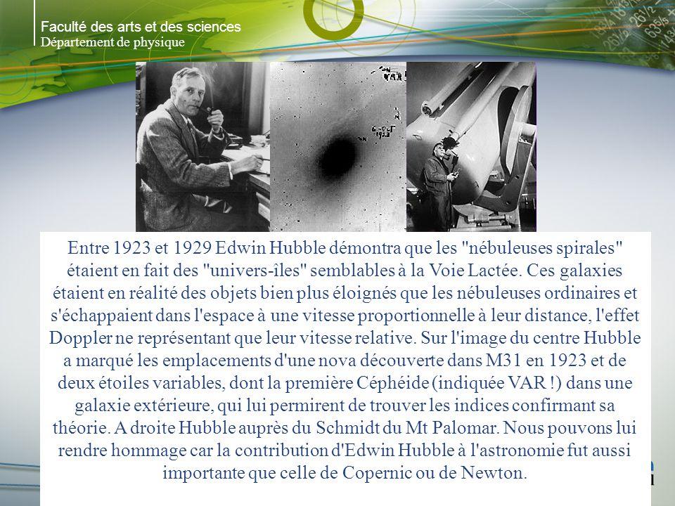 Faculté des arts et des sciences Département de physique Entre 1923 et 1929 Edwin Hubble démontra que les