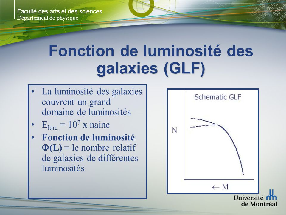 Faculté des arts et des sciences Département de physique Fonction de luminosité des galaxies (GLF) La luminosité des galaxies couvrent un grand domain