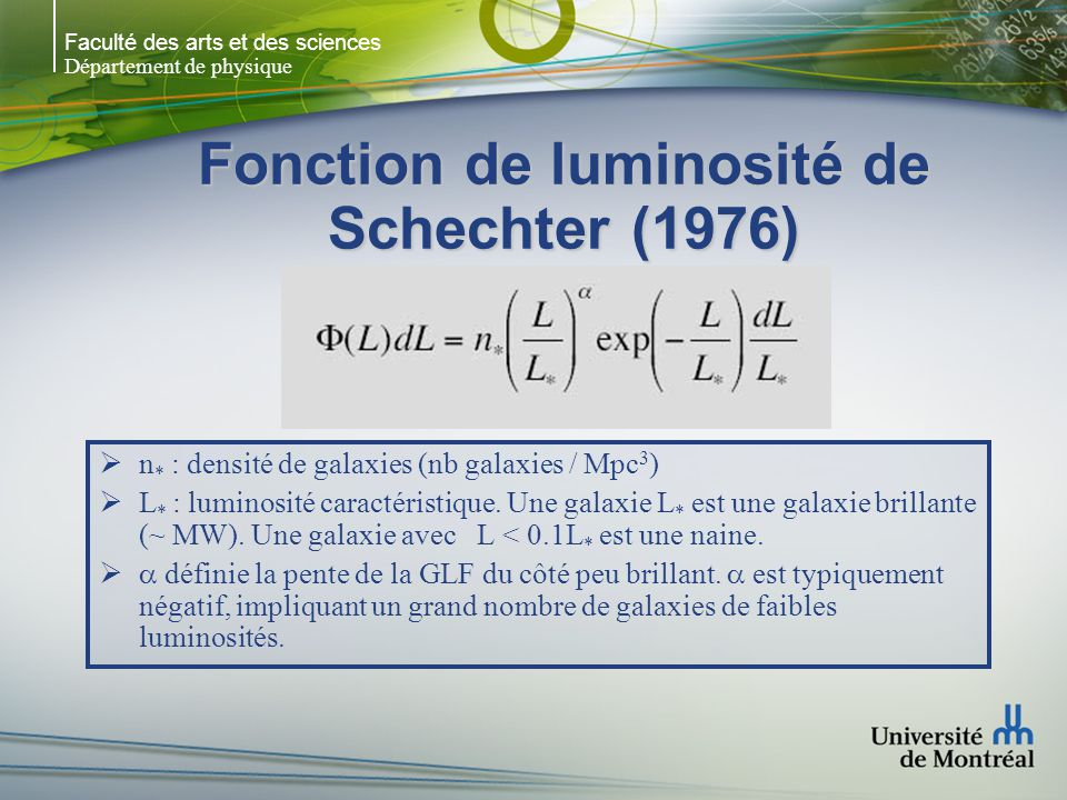 Faculté des arts et des sciences Département de physique Fonction de luminosité de Schechter (1976) n * : densité de galaxies (nb galaxies / Mpc 3 ) L