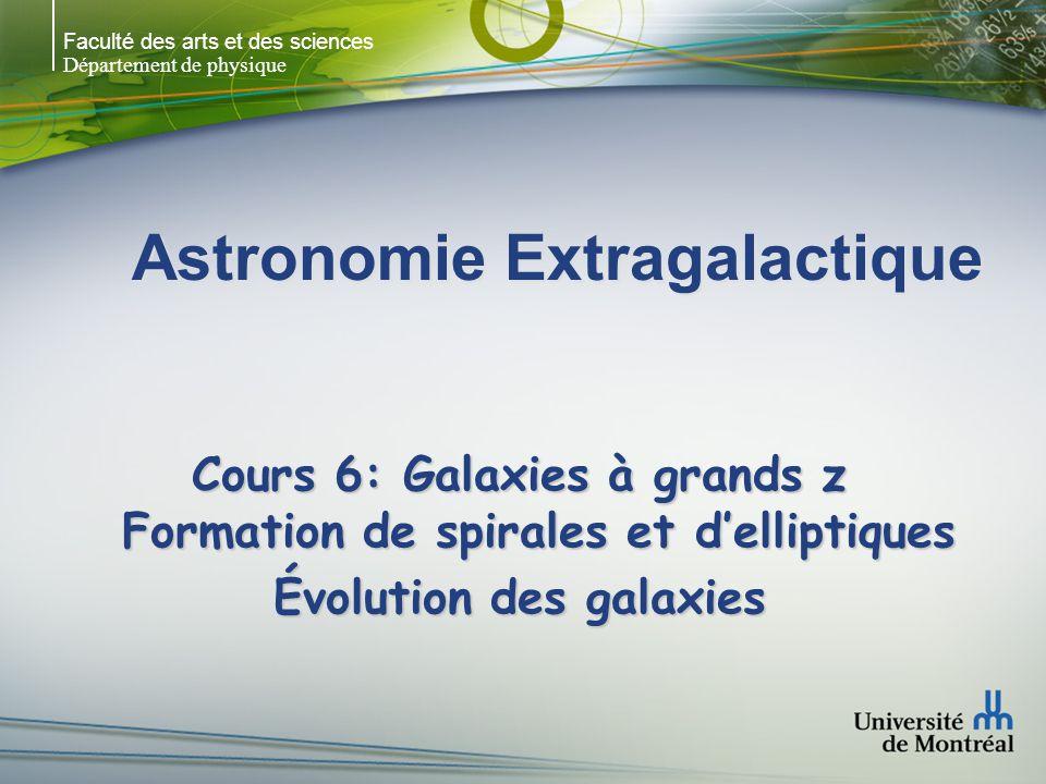 Faculté des arts et des sciences Département de physique Formation hiérarchique des différents types morphologiques Dark halo ~ 2.5 x 10 12 M sol à z = 0 Dark halo ~ 2.5 x 10 12 M sol à z = 0 CDM avec M = 0.3, = 0.7, b = 0.019h -2 h = H 0 /(100 km/s/Mpc) = 0.65 CDM avec M = 0.3, = 0.7, b = 0.019h -2 h = H 0 /(100 km/s/Mpc) = 0.65 Évolution z = 4 z = 0 (mergers à z ~ 3.3 et z ~ 0.6) Évolution z = 4 z = 0 (mergers à z ~ 3.3 et z ~ 0.6) Steinmetz & Navarro 2002, New Astronomy, 7, 155