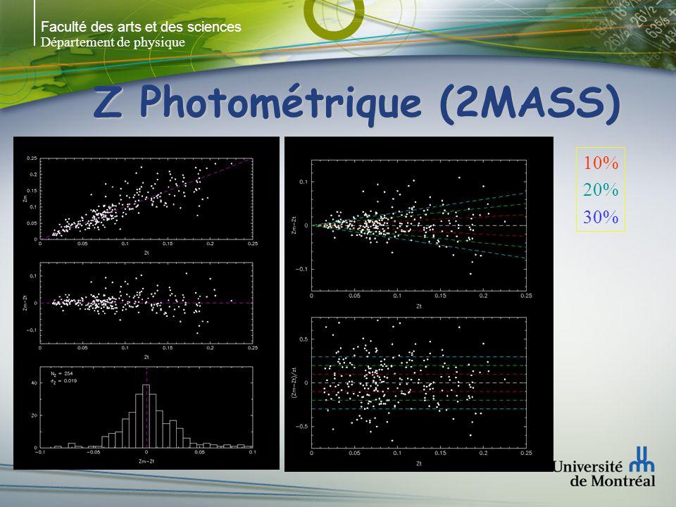 Faculté des arts et des sciences Département de physique Z Photométrique (2MASS) 10% 20% 30%