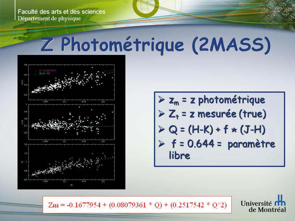 Faculté des arts et des sciences Département de physique Z Photométrique (2MASS) z m = z photométrique z m = z photométrique Z t = z mesurée (true) Z t = z mesurée (true) Q = (H-K) + f * (J-H) Q = (H-K) + f * (J-H) f = 0.644 = paramètre libre f = 0.644 = paramètre libre