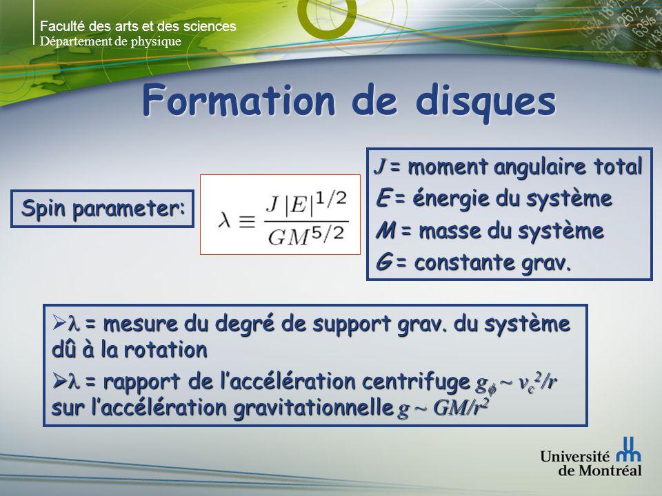 Faculté des arts et des sciences Département de physique Formation de disques Spin parameter: J = moment angulaire total E = énergie du système M = masse du système G = constante grav.