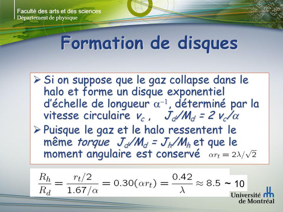 Faculté des arts et des sciences Département de physique Formation de disques Si on suppose que le gaz collapse dans le halo et forme un disque exponentiel déchelle de longueur, déterminé par la vitesse circulaire v c, J d /M d = 2 v c / Si on suppose que le gaz collapse dans le halo et forme un disque exponentiel déchelle de longueur, déterminé par la vitesse circulaire v c, J d /M d = 2 v c / Puisque le gaz et le halo ressentent le même torque J d /M d = J h /M h et que le moment angulaire est conservé Puisque le gaz et le halo ressentent le même torque J d /M d = J h /M h et que le moment angulaire est conservé ~ 10