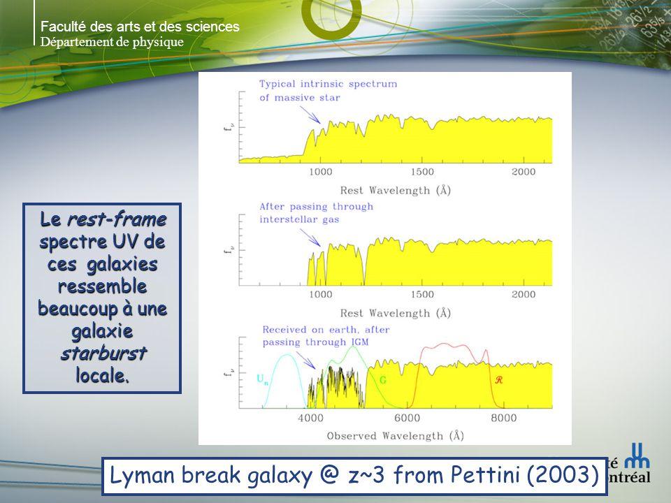 Faculté des arts et des sciences Département de physique Lyman-break (UV drop-out) UV lointain, flux dominé par les étoiles massives UV lointain, flux dominé par les étoiles massives Red, green, UV conçus pour trouver les galaxies à grands z Red, green, UV conçus pour trouver les galaxies à grands z Pas de flux en UV Pas de flux en UV