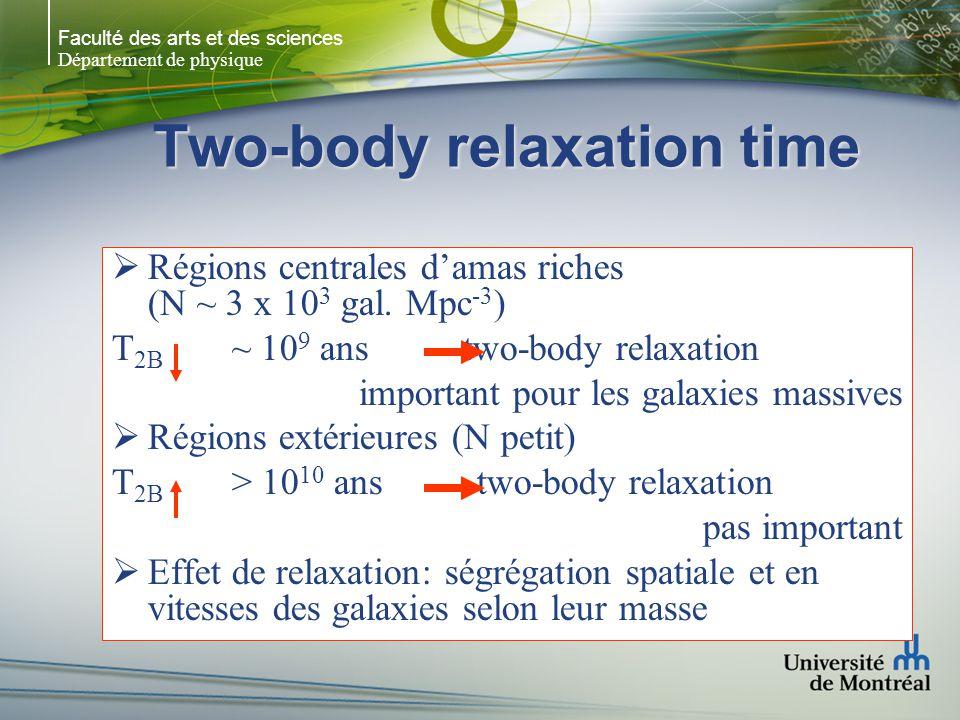 Faculté des arts et des sciences Département de physique Two-body relaxation time Régions centrales damas riches (N ~ 3 x 10 3 gal. Mpc -3 ) T 2B ~ 10