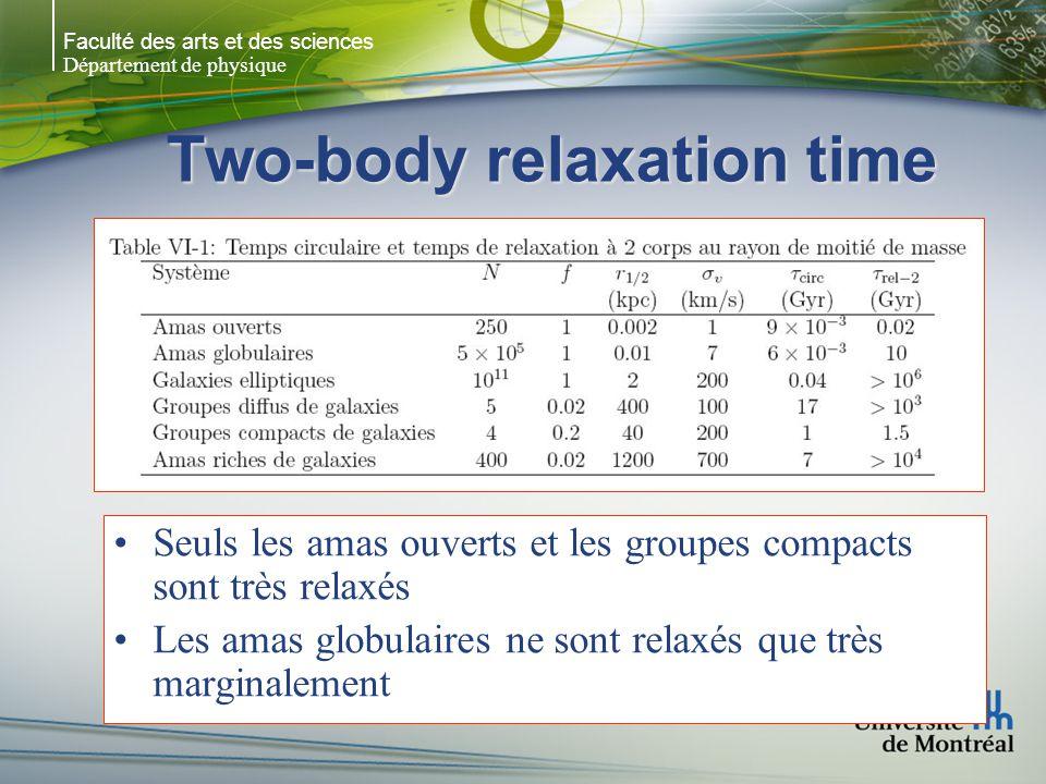 Faculté des arts et des sciences Département de physique Two-body relaxation time Seuls les amas ouverts et les groupes compacts sont très relaxés Les