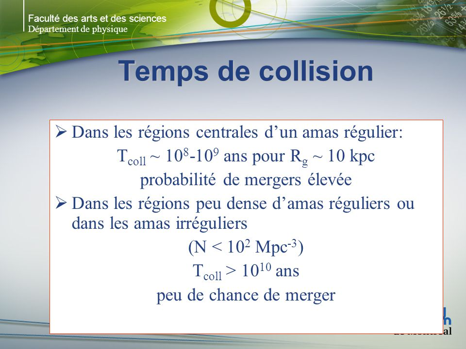 Faculté des arts et des sciences Département de physique Temps de collision Dans les régions centrales dun amas régulier: T coll ~ 10 8 -10 9 ans pour