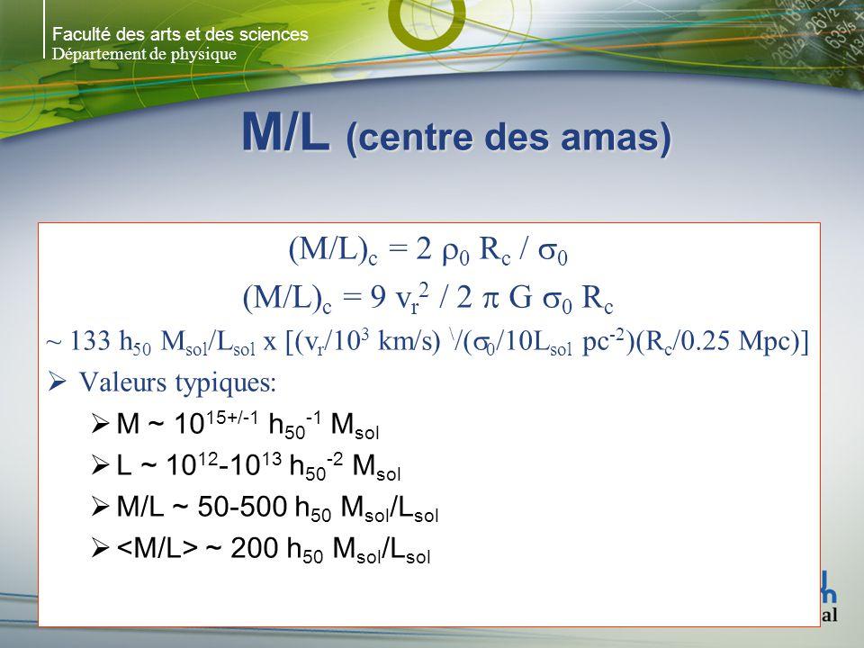 Faculté des arts et des sciences Département de physique M/L (centre des amas) (M/L) c = 2 0 R c / 0 (M/L) c = 9 v r 2 / 2 G 0 R c ~ 133 h 50 M sol /L