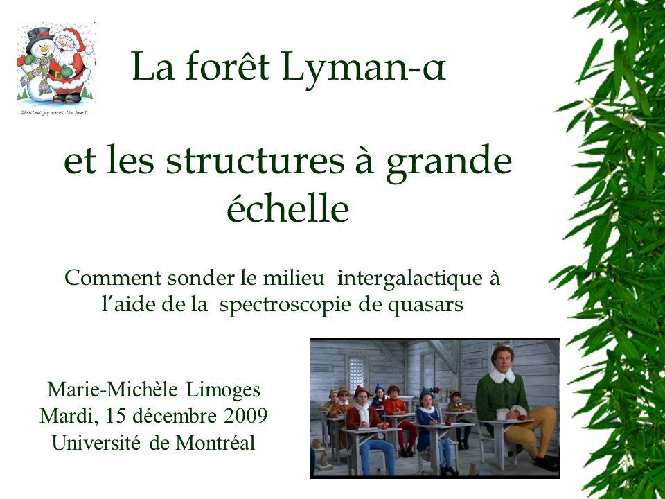La forêt Lyman-α et les structures à grande échelle Marie-Michèle Limoges Mardi, 15 décembre 2009 Université de Montréal Comment sonder le milieu intergalactique à laide de la spectroscopie de quasars
