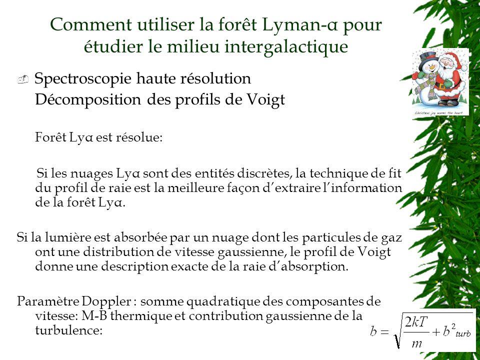Comment utiliser la forêt Lyman-α pour étudier le milieu intergalactique Spectroscopie haute résolution Décomposition des profils de Voigt Forêt Lyα est résolue: Si les nuages Lyα sont des entités discrètes, la technique de fit du profil de raie est la meilleure façon dextraire linformation de la forêt Lyα.