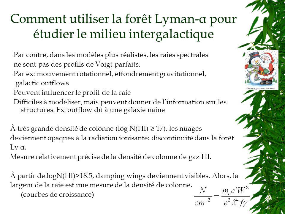 Comment utiliser la forêt Lyman-α pour étudier le milieu intergalactique Par contre, dans les modèles plus réalistes, les raies spectrales ne sont pas des profils de Voigt parfaits.