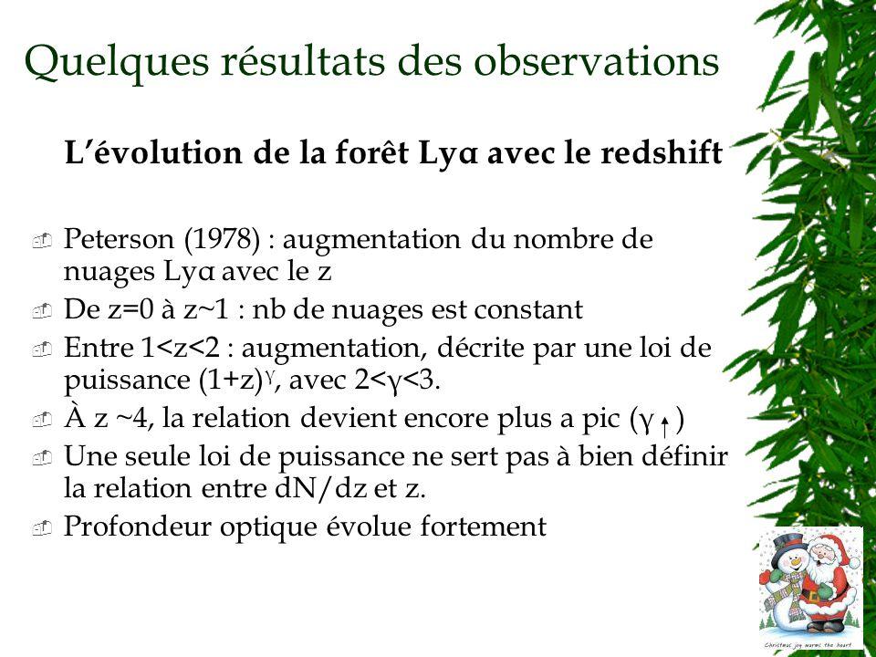 Quelques résultats des observations Lévolution de la forêt Lyα avec le redshift Peterson (1978) : augmentation du nombre de nuages Lyα avec le z De z=0 à z~1 : nb de nuages est constant Entre 1<z<2 : augmentation, décrite par une loi de puissance (1+z) γ, avec 2<γ<3.