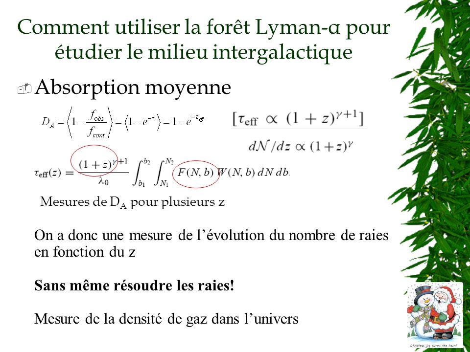 Comment utiliser la forêt Lyman-α pour étudier le milieu intergalactique Absorption moyenne Mesures de D A pour plusieurs z On a donc une mesure de lévolution du nombre de raies en fonction du z Sans même résoudre les raies.