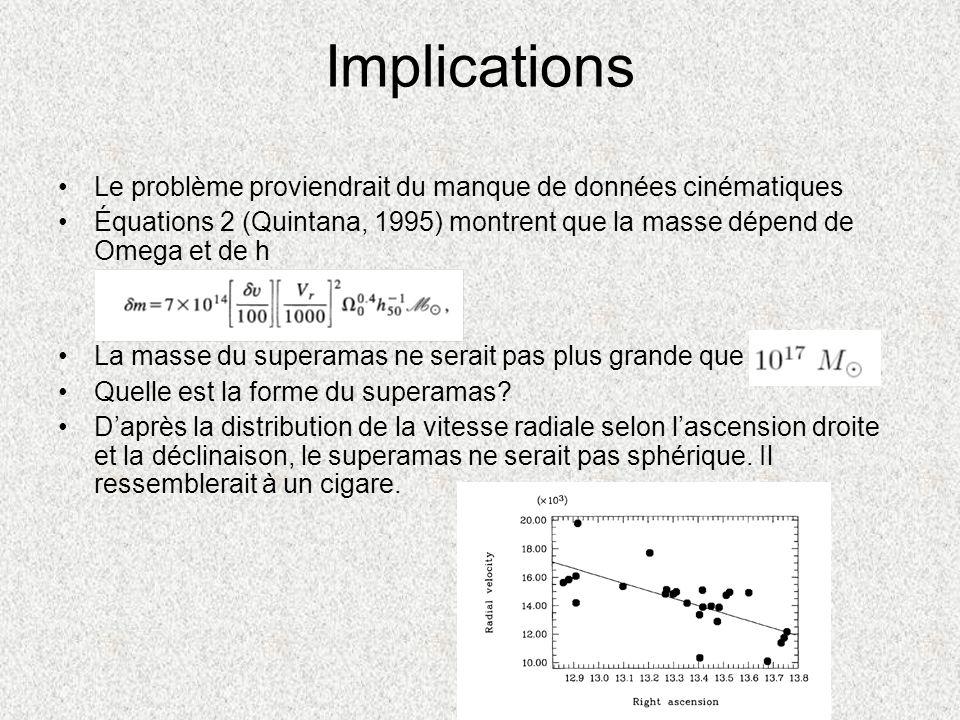 Implications Le problème proviendrait du manque de données cinématiques Équations 2 (Quintana, 1995) montrent que la masse dépend de Omega et de h La
