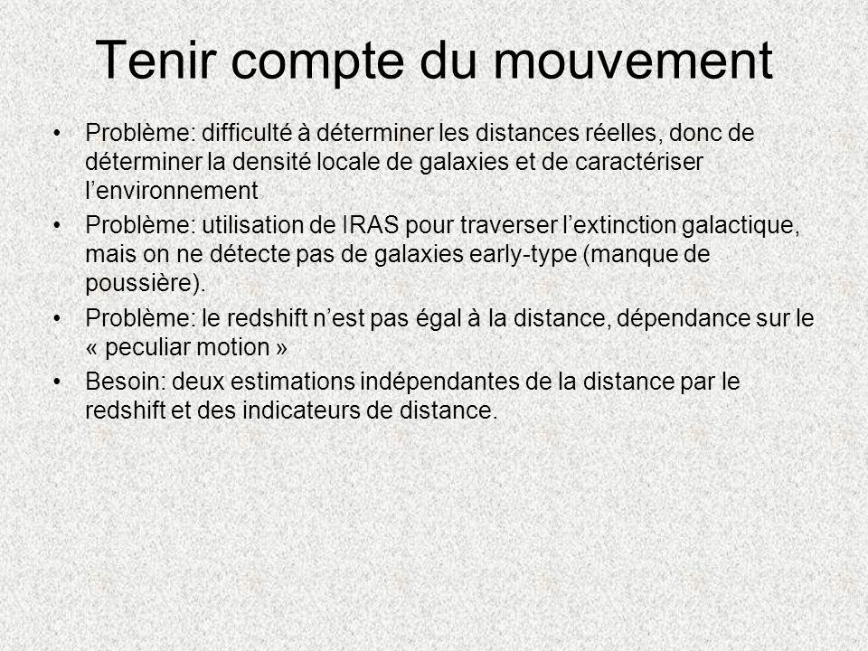 Tenir compte du mouvement Problème: difficulté à déterminer les distances réelles, donc de déterminer la densité locale de galaxies et de caractériser