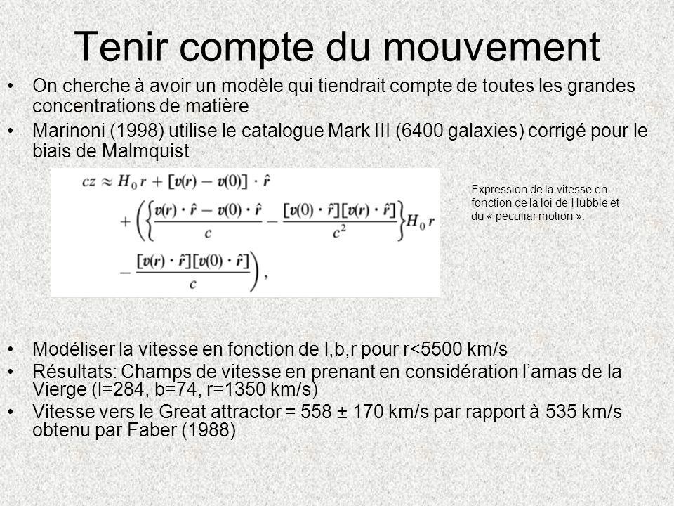 Tenir compte du mouvement On cherche à avoir un modèle qui tiendrait compte de toutes les grandes concentrations de matière Marinoni (1998) utilise le