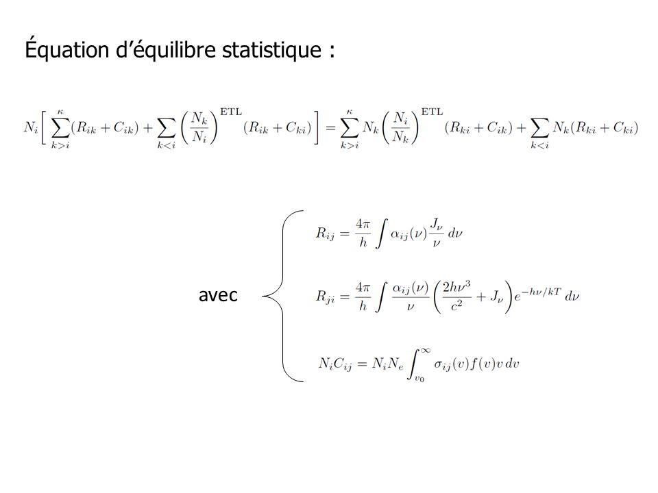 Équation déquilibre statistique : avec