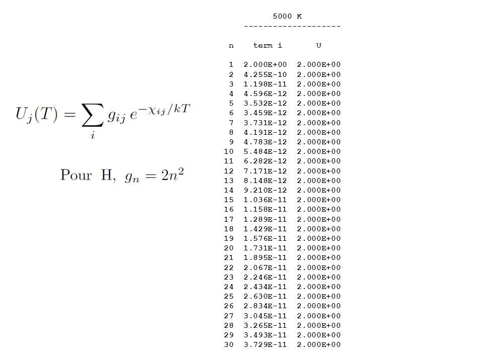 5000 K 20,000 K -------------------- -------------------- n term i U term i U 1 2.000E+00 2.000E+00 2.000E+00 2.000E+00 2 4.255E-10 2.000E+00 2.160E-0