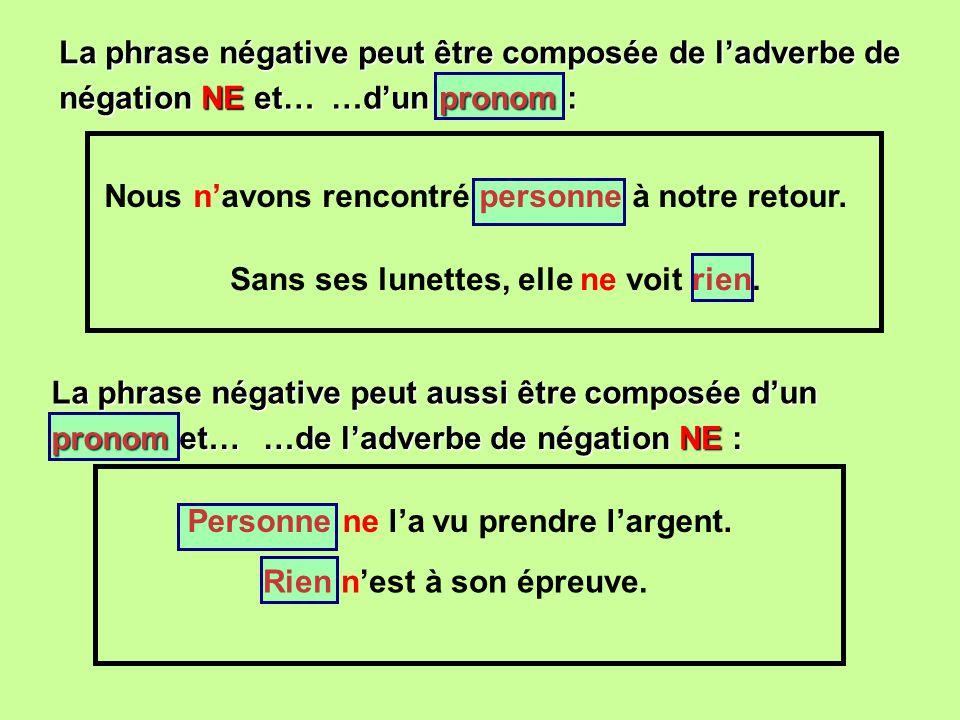 La phrase négative peut être composée de ladverbe de …dun pronom : Nous navons rencontré personne à notre retour.