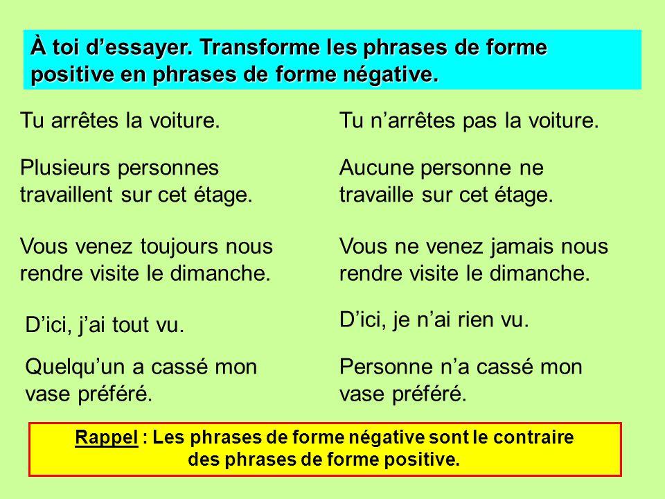 À toi dessayer. Transforme les phrases de forme positive en phrases de forme négative. Tu arrêtes la voiture. Plusieurs personnes travaillent sur cet
