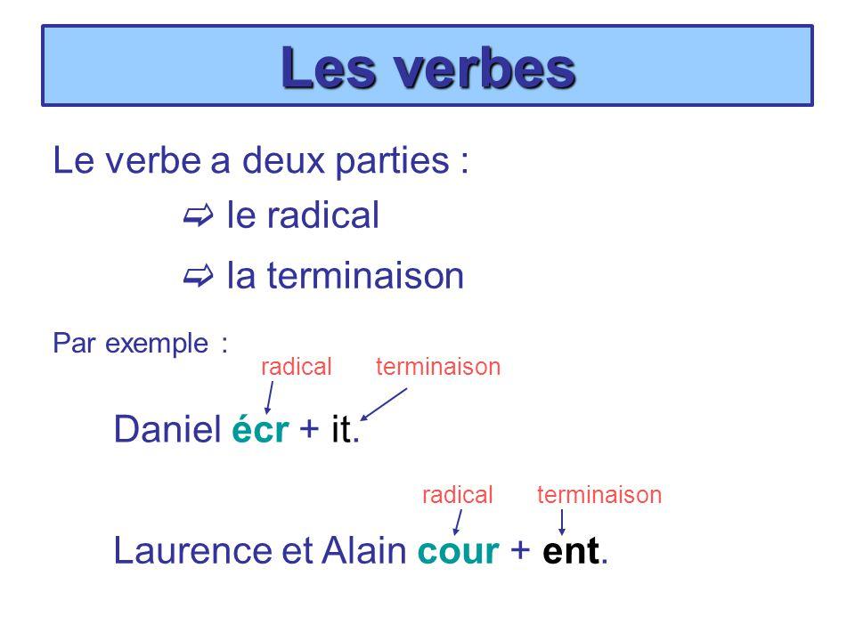 Les verbes Le verbe a deux parties : le radical la terminaison Daniel écr + it. Laurence et Alain cour + ent. Par exemple : radicalterminaison radical