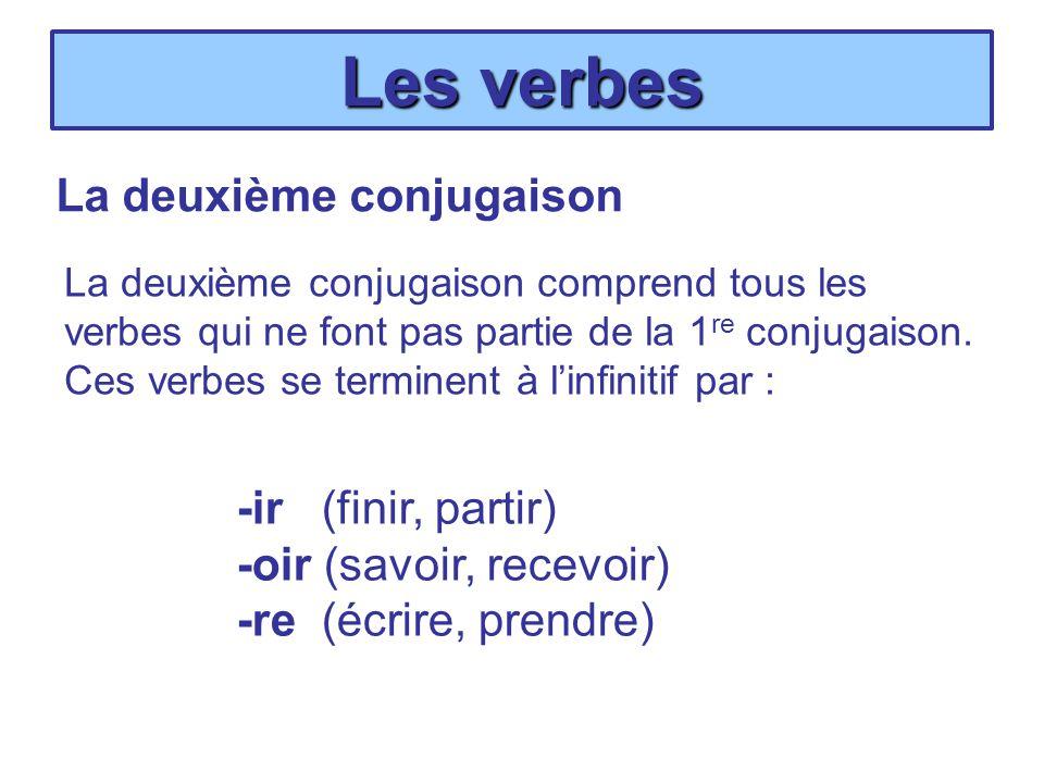 Les verbes La deuxième conjugaison La deuxième conjugaison comprend tous les verbes qui ne font pas partie de la 1 re conjugaison. Ces verbes se termi