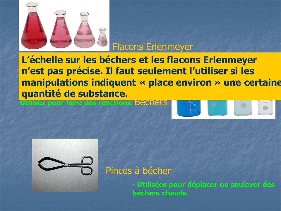 Pinces à bécher Béchers Flacons Erlenmeyer - Utilisés pour faire des réactions. - utilisés pour faire des réactions - Utilisées pour déplacer ou soule