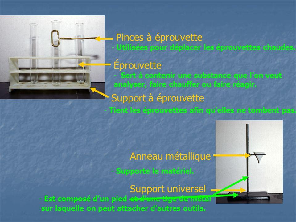 Pinces à éprouvette Éprouvette Support à éprouvette Anneau métallique Support universel - Utilisées pour déplacer les éprouvettes chaudes. - Sert à co