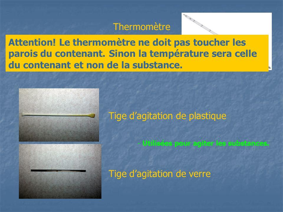 Thermomètre Tige dagitation de plastique Tige dagitation de verre - Utilisé pour mesurer la température dune Substance. Attention! Le thermomètre ne d