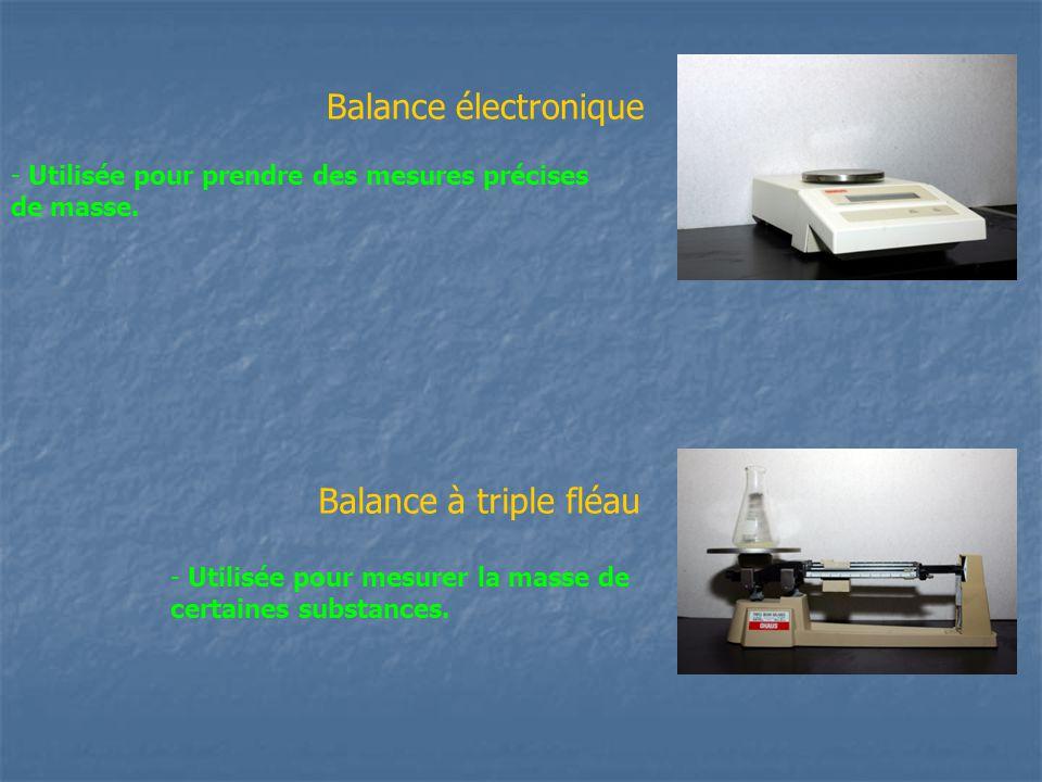 Balance électronique Balance à triple fléau - Utilisée pour prendre des mesures précises de masse. - Utilisée pour mesurer la masse de certaines subst