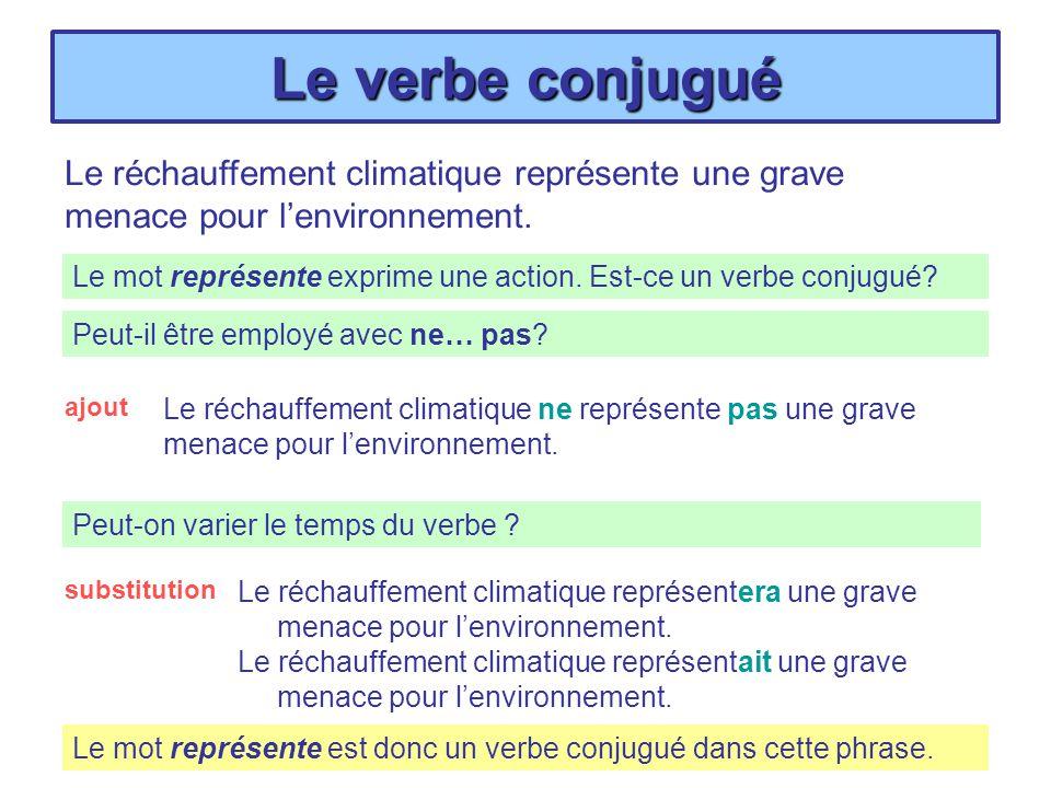 Le verbe conjugué Le réchauffement climatique représente une grave menacera pour lenvironnement.