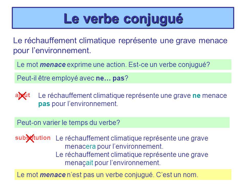 Le verbe conjugué Le réchauffement climatique représente une grave menacera pour lenvironnement. Le réchauffement climatique représente une grave mena