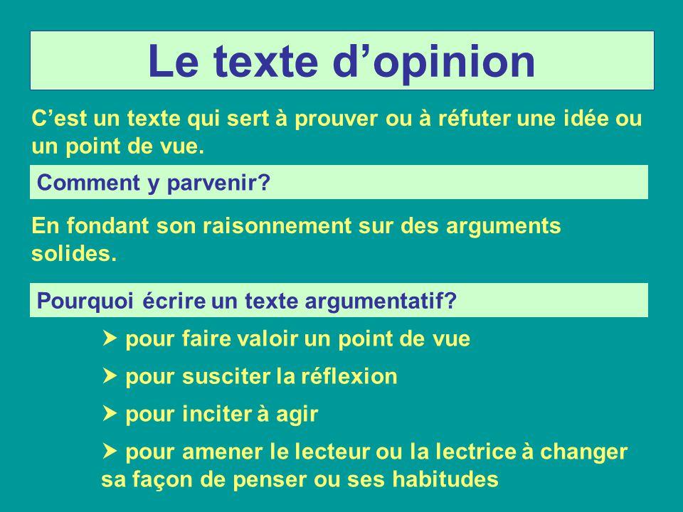 Le texte dopinion Cest un texte qui sert à prouver ou à réfuter une idée ou un point de vue. Comment y parvenir? En fondant son raisonnement sur des a